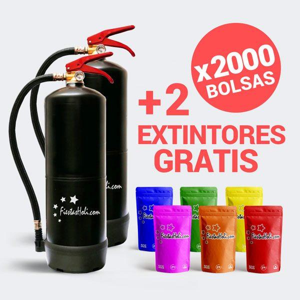 Pack de Polvos Holi con 2000 bolsas de 100 gramos más regalo de 2 extintores