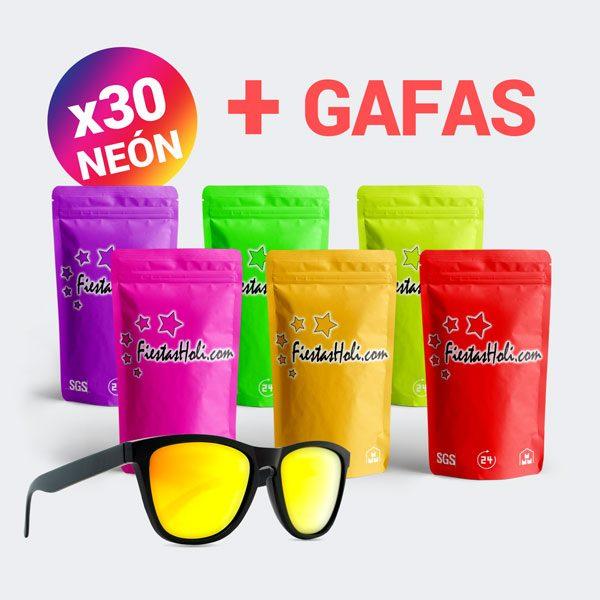 Pack de Polvos Holi de Neon con 30 bolsas de 75 gramos