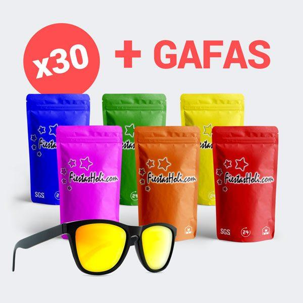 Pack de Polvos Holi con 30 bolsas de 100 gramos más gafas de regalo