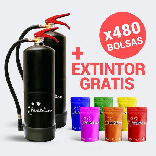 Pack de Polvos Holi con 480 bolsas de 100 gramos más extintor de regalo
