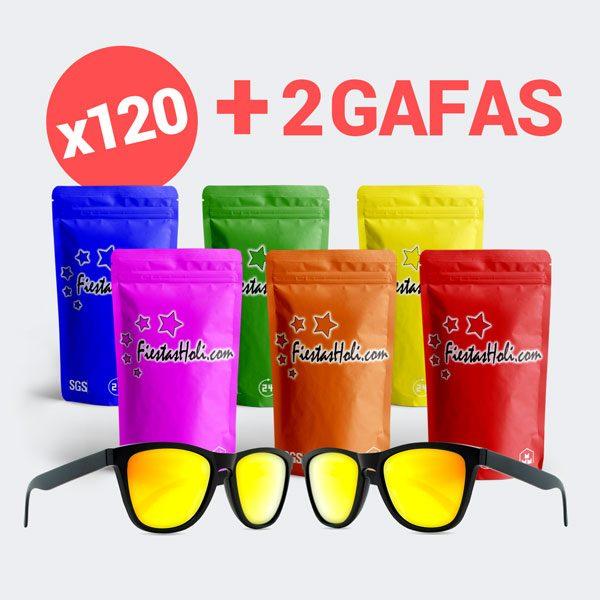 Pack de Polvos Holi con 120 bolsas de 100 gramos y 2 gafas de regalo