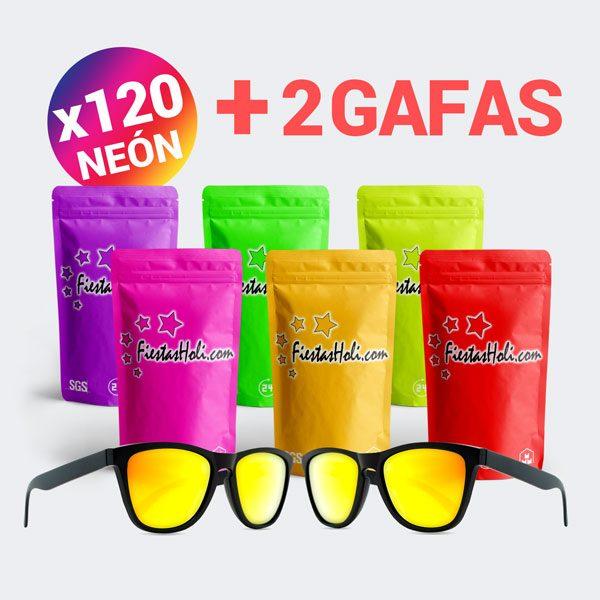 Pack de Polvos Holi de Neon con 120 bolsas de 75 gramos y regalo de 2 gafas