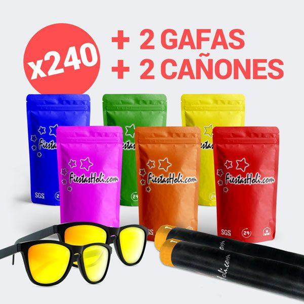Pack de Polvos Holi con 240 bolsas de 100 gramos más cañón y 2 gafas de regalo