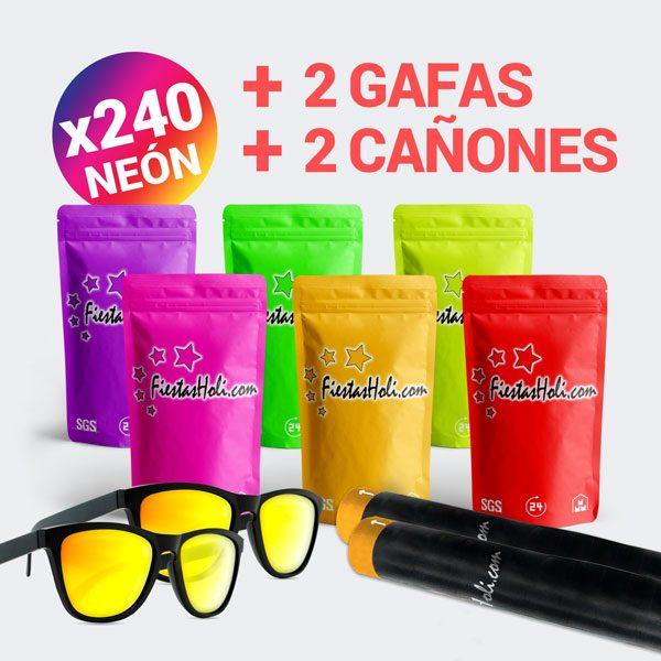 Pack de Polvos Holi de Neon con 240 bolsas de 75 gramos más regalo de 2 gafas y 2 cañones