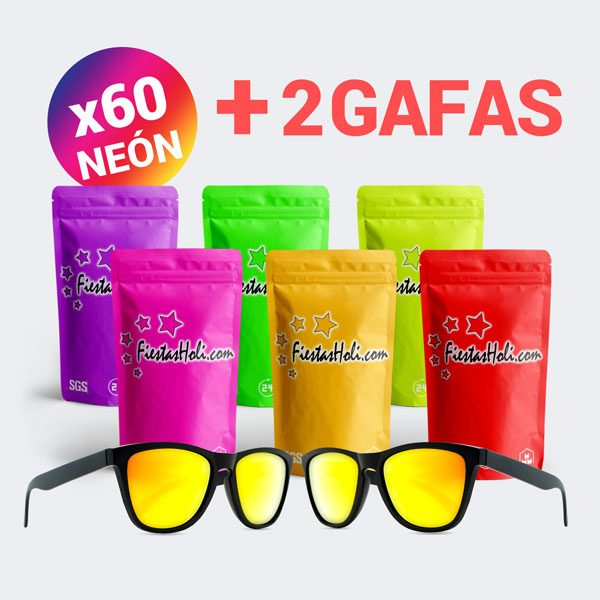 Pack de Polvos Holi de Neon con 60 bolsas de 75 gramos y regalo de 2 gafas