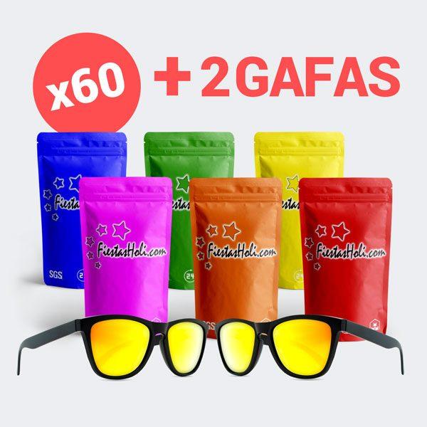 Pack de Polvos Holi con 60 bolsas de 100 gramos y 2 gafas de regalo